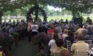 Orquestra da Polícia Militar se apresentam em cerimônia em homenagem a PMs mortos no estado Foto: Ricardo Rigel / Agência O Globo