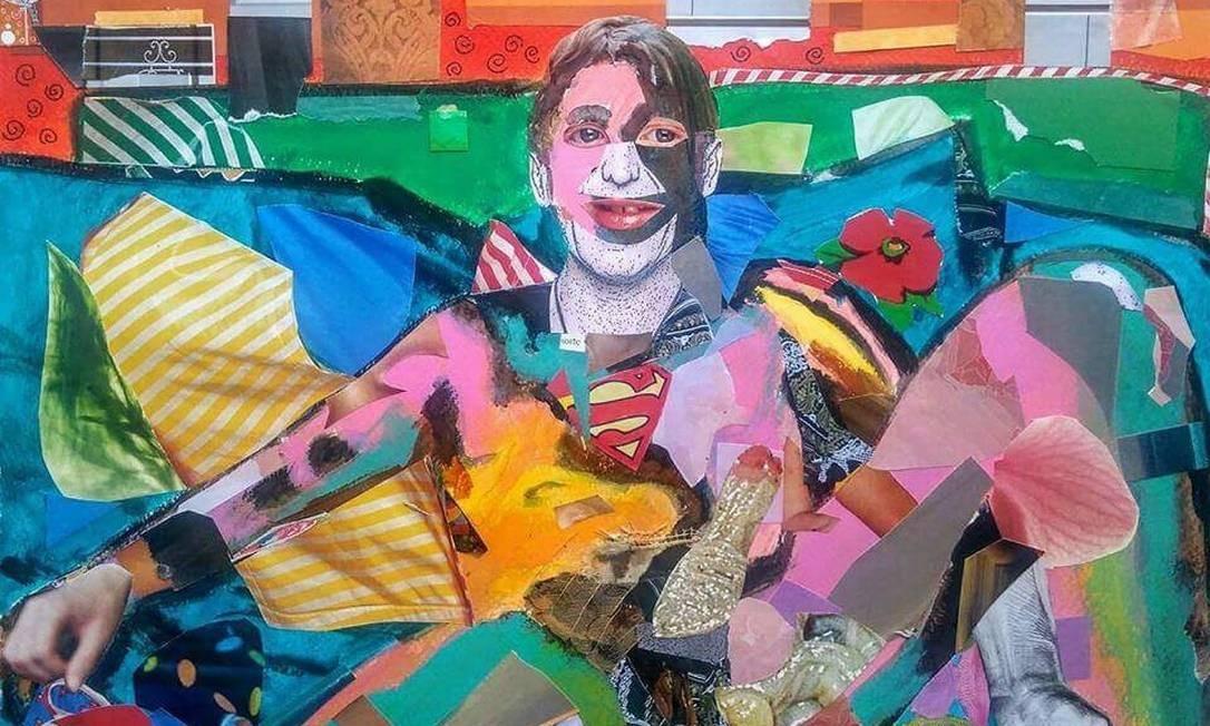 """Há trabalhos de cerca de 20 artistas, todos de cunho sexual. Colagem """"Pensando em você"""", de Mauricio Kiffer. Divulgação"""