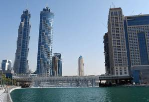Dubai e o canal que liga o golfo ao centro comercial e financeiro da cidade nos Emirados Árabes Unidos Foto: DIVULGAÇÃO/SHEIKH MOHAMMED BIN RASHID / AFP/6-11-2016