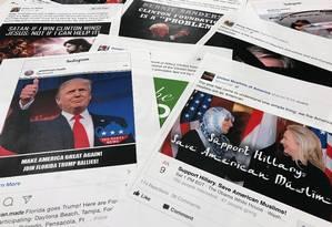 Propagandas de Facebook e Instagram produzidas por grupos russos para interferir nas eleições são expostas para deputados Foto: Jon Elswick / AP