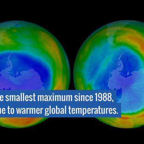 Temperaturas mais quentes reduziram a depleção do ozônio sobre a Antártica Foto: NASA