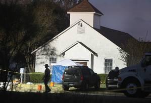Atirador abriu fogo em igreja batista em Sutherland Springs, no Texas Foto: SCOTT OLSON / AFP