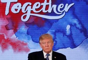 """Trump está """"por enquanto"""" fora de cúpula que celebrará o aniversário do Acordo de Paris Foto: JONATHAN ERNST / REUTERS"""