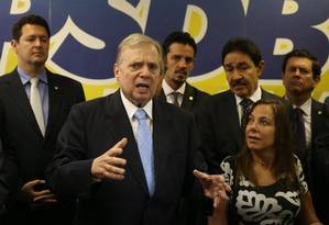 O senador Tasso Jereissati (PSDB-CE) se lança à presidência do PSDB, em evento no Senado Foto: Ailton de Freitas/Agência O Globo