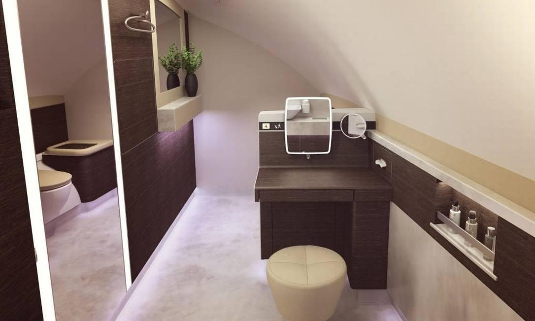 As seis suítes de primeira classe do A380 terão também banheiro exclusivo, guarda-roupas e amenidades de beleza Singapore Airlines/Divulgação