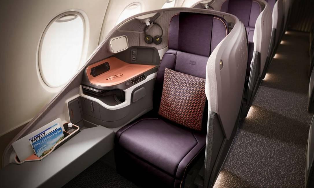 Poltrona individual da janela. A classe executiva terá 78 assentos Foto: Singapore Airlines/Divulgação