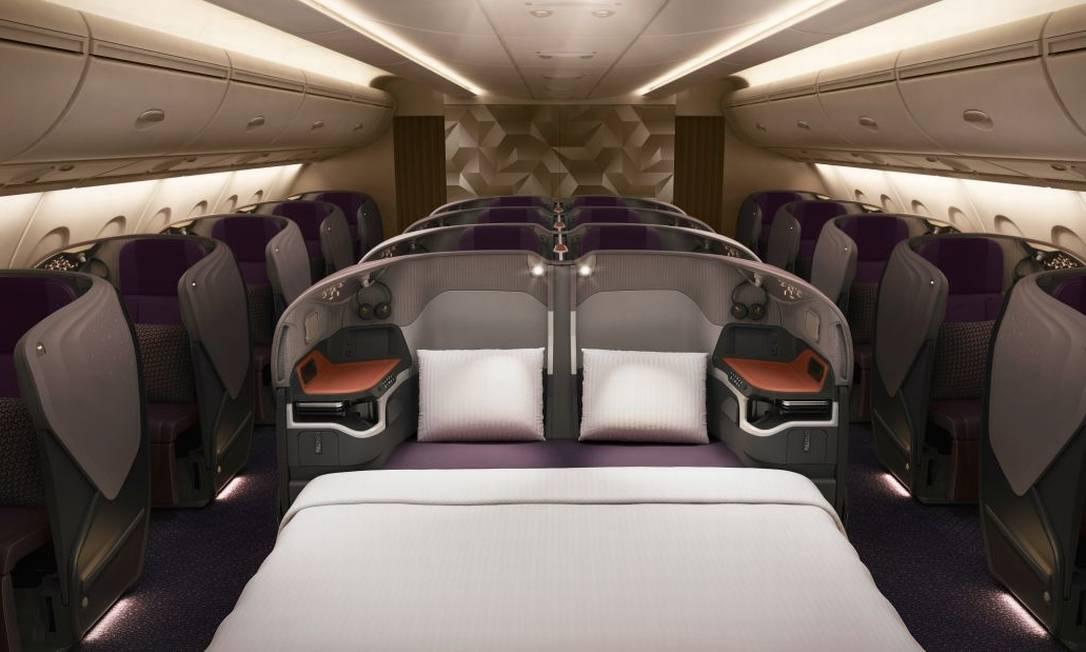 Já na classe executiva, a novidade é a possibilidade de transformar o assento individual em uma cama de casal nas poltronas do meio Singapore Airlines/Divulgação