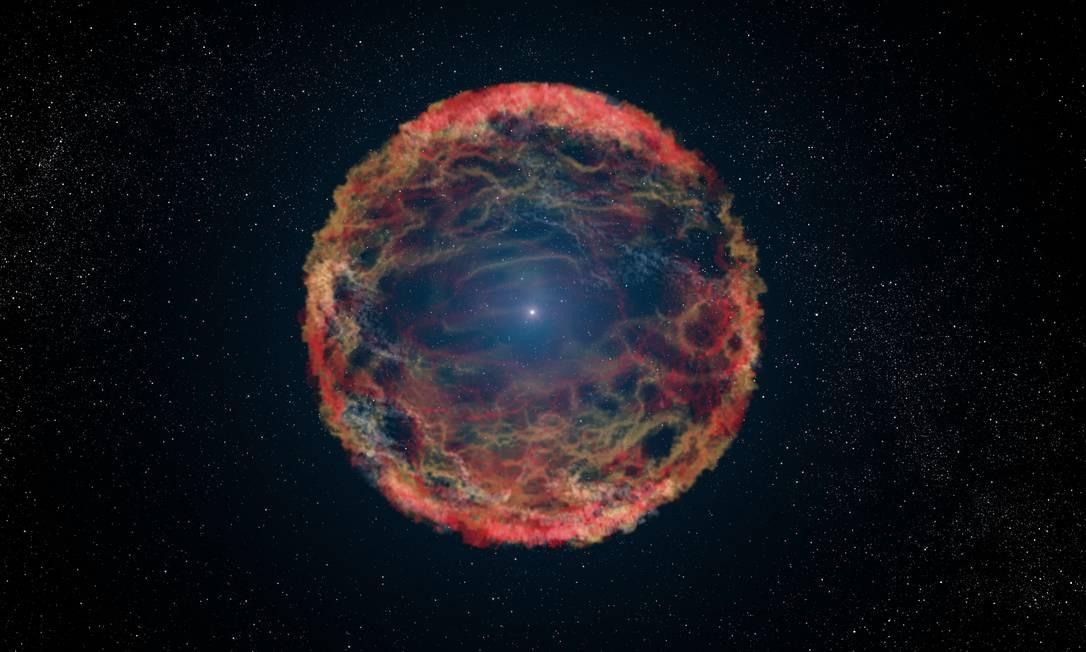 Ilustração do resultado de uma explosão estelar conhecida como supernova Foto: NASA/ESA/G. Bacon (STScI)