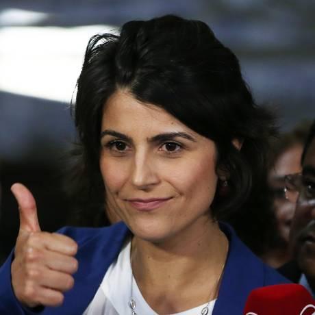 A deputada estadual Manuela D'Ávila (PCdoB-RS) lança sua pré-candidatura à Presidência da República em 2018 Foto: Givaldo Barbosa/Agência O Globo