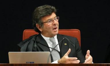 O ministro Luiz Fux, durante sessão da Primeira Turma do Supremo Foto: Ailton de Freitas/Agência O Globo/24-10-2017