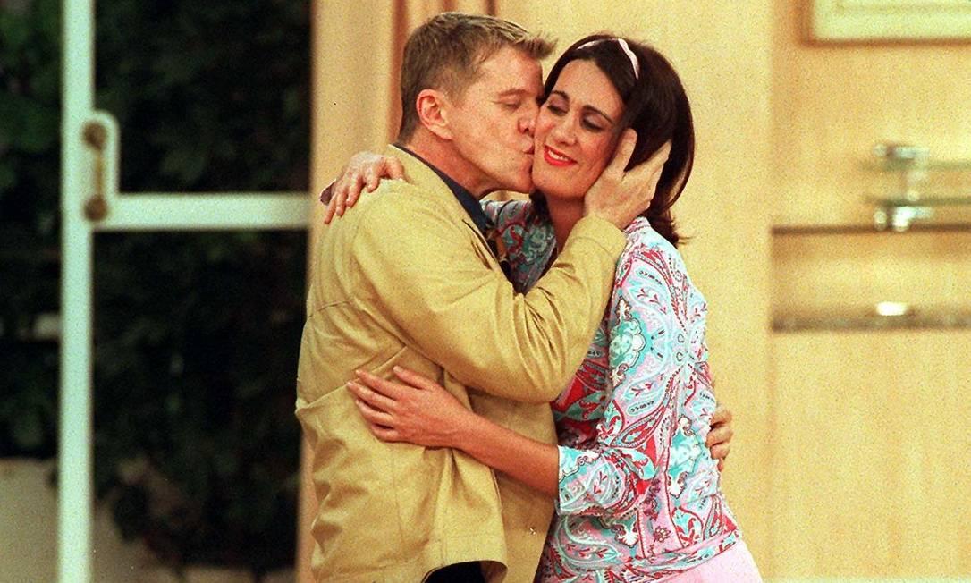 Márcia Cabrita e Miguel Falabella em 'Sai de Baixo'. Atriz se despediu do programa no ano 2000 Márcio Sillane