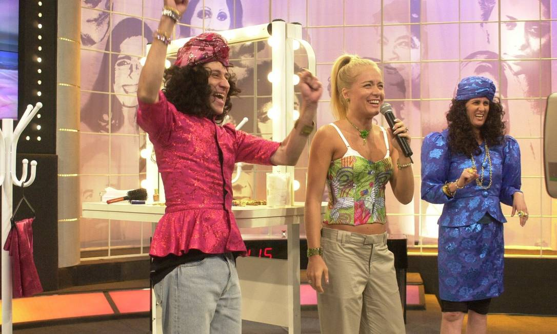 Márcia Cabrita e Tadeu Mello participam do Video Game, comandado por Angélica, em janeiro de 2002 Gianne Carvalho / Divulgação