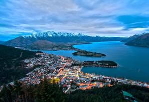 A cidade de Queenstown, na Nova Zelândia Foto: WIKIPEDIA
