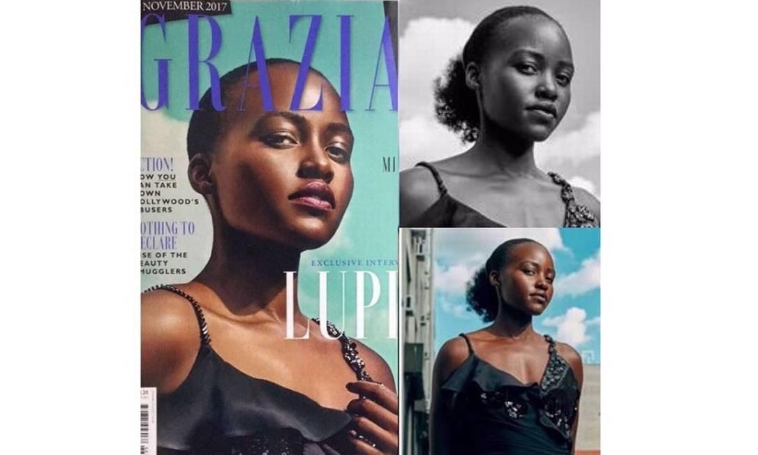 Lupita Nyong'o publicou montagem com foto original ao lado da alterada pela revista italiana 'Grazia' Foto: Reprodução Instagram