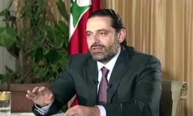 O primeiro-ministro do Líbano, Saad Hariri, dá uma entrevista em Riad, capital da Arábia Saudita Foto: Future TV / AP