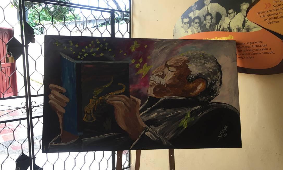 Quadro de García Márquez exposto na biblioteca municipal de Aracataca Foto: Breno Salvador/O GLOBO