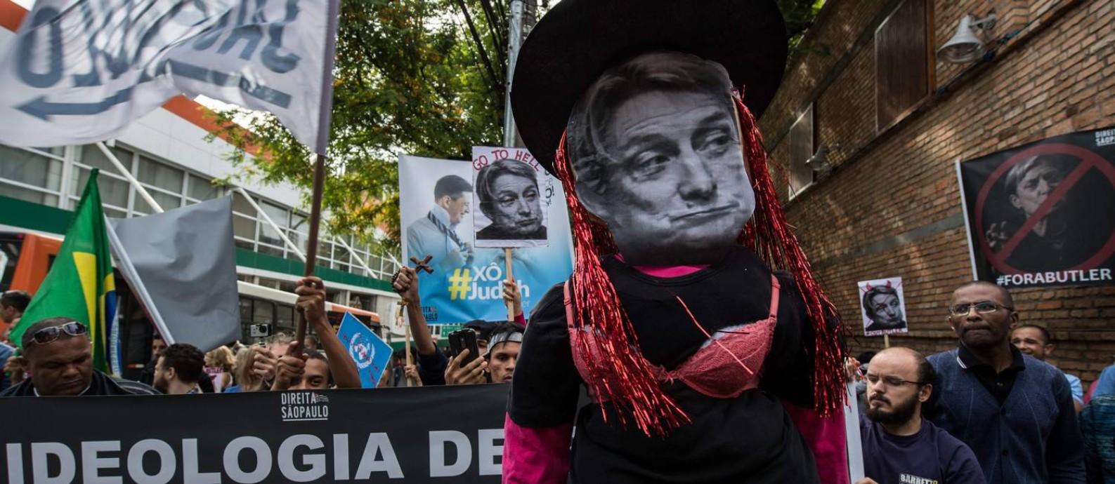 Protesto em São Paulo contra a filósofa Judith Butler Foto: NELSON ALMEIDA / AFP
