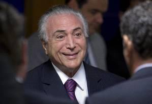 O presidente Michel Temer participa de cerimônia no Palácio do Planalto Foto: Jorge William / Jorge William/Agência O Globo