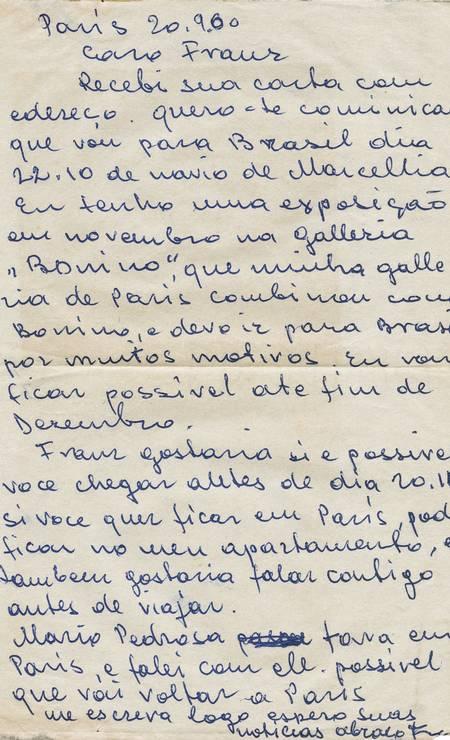 Carta de Frans Krajcberg a Franz Weissmann (1911-2005). Os dois dividiram ateliê no Rio de Janeiro. Krajcberg chegou à cidade em 1956. Foto: Divulgação