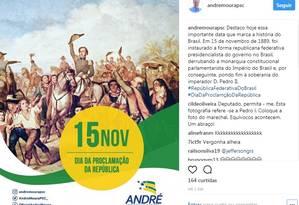 Foto publicada no perfil do deputado André Moura Foto: Reprodução/Instagram