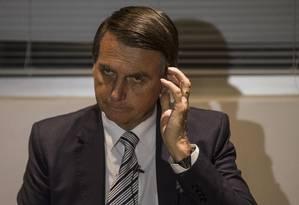 Entrevista coletiva do deputado federal Jair Bolsonaro (PSC-RJ) Foto: Alexandre Cassiano / Alexandre Cassiano/Agência O Globo/10-08-2017