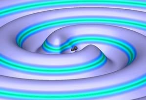 Ilustração da fusão de dois buracos negros e das ondas gravitacionais emitidas pelo processo Foto: Divulgação/Ligo