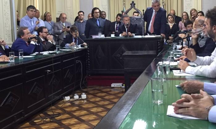 Sessão da CCJ é aberta para analisar parecer sobre prisões de deputados da Alerj Foto: Marco Grillo/O GLOBO
