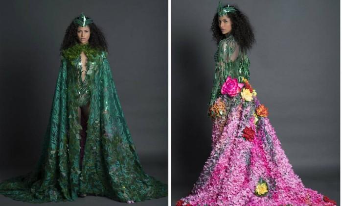 Monalysa Alcântara celebra Amazônia com traje de R$ 30 mil