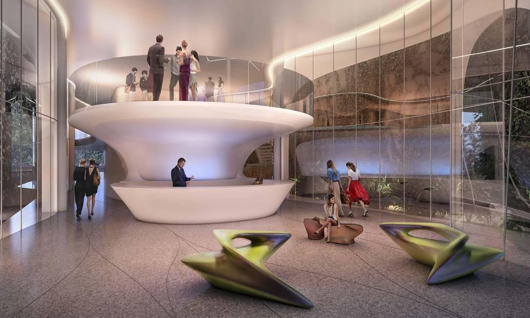Interior do prédio de Zaha Hadid, que ainda será construído Foto: Reprodução