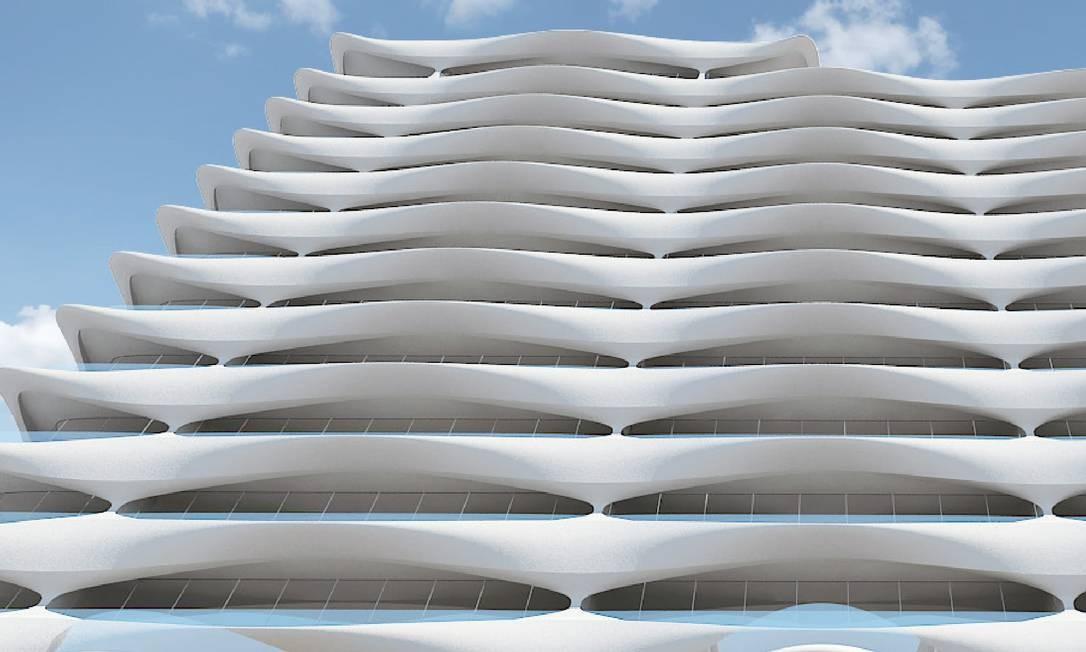 O prédio ficará na Avenida Atlântica e será o único prédio da avenida construído no centro do terreno Foto: Reprodução
