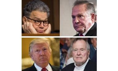No sentido horário, a partir da superior esquerda: Al Franken; Roy Moore; Bush pai; Trump. Todos são acusados de assédio ou abuso sexual Foto: Reprodução