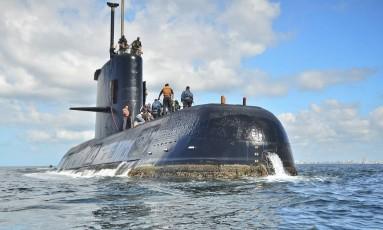 O ARA San Juan é visto ancorado em Buenos Aires Foto: Argentina Navy / AP
