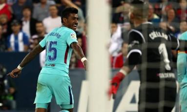 Paulinho fechou a vitória do Barcelona sobre o Leganes Foto: JUAN MEDINA / REUTERS