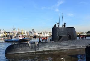 O submarino ARA San Juan ancorado em Buenos Aires, em 2014 Foto: HANDOUT / AFP