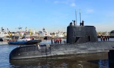 O submarino ARA San Juan ancorado em Buenos Aires Foto: HANDOUT / AFP
