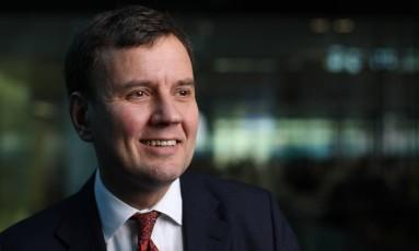 Greg Hands, ministro de Comércio Exterior do Reino Unido Foto: Chris Ratcliffe / Bloomberg