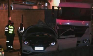 Mulher morre após ser atingida por concreto em SP Foto: Reprodução TV/Globo