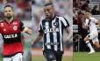?Os jogadores de Flamengo, Botafogo e Vasco Foto: Montagem com fotos de Guilherme Pinto, Marcos Alves e Carlos Gregório (Agência O Globo/Divulgação Vasco)