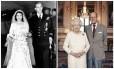 Elizabeth II e Philip em 1947 e em 2017
