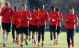 Jogadores do Monaco fazem treinamento antes de partida importante contra o Leipzig Foto: VALERY HACHE / AFP