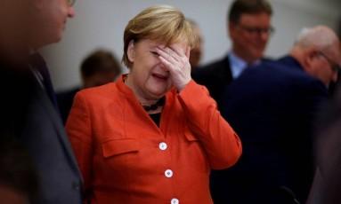 Chanceler federal alemã, Angela Merkel, paticipa de reunião da sua aliança governista no Parlamento após fracasso das negociações para formar governo Foto: AXEL SCHMIDT / REUTERS