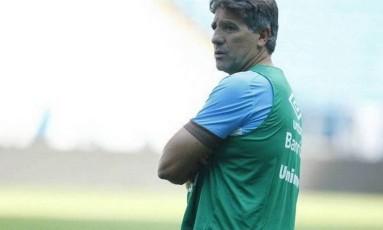 Renato promete falar sobre o drone após a Libertadores Foto: Lucas Uebel / Grêmio / Divulgação