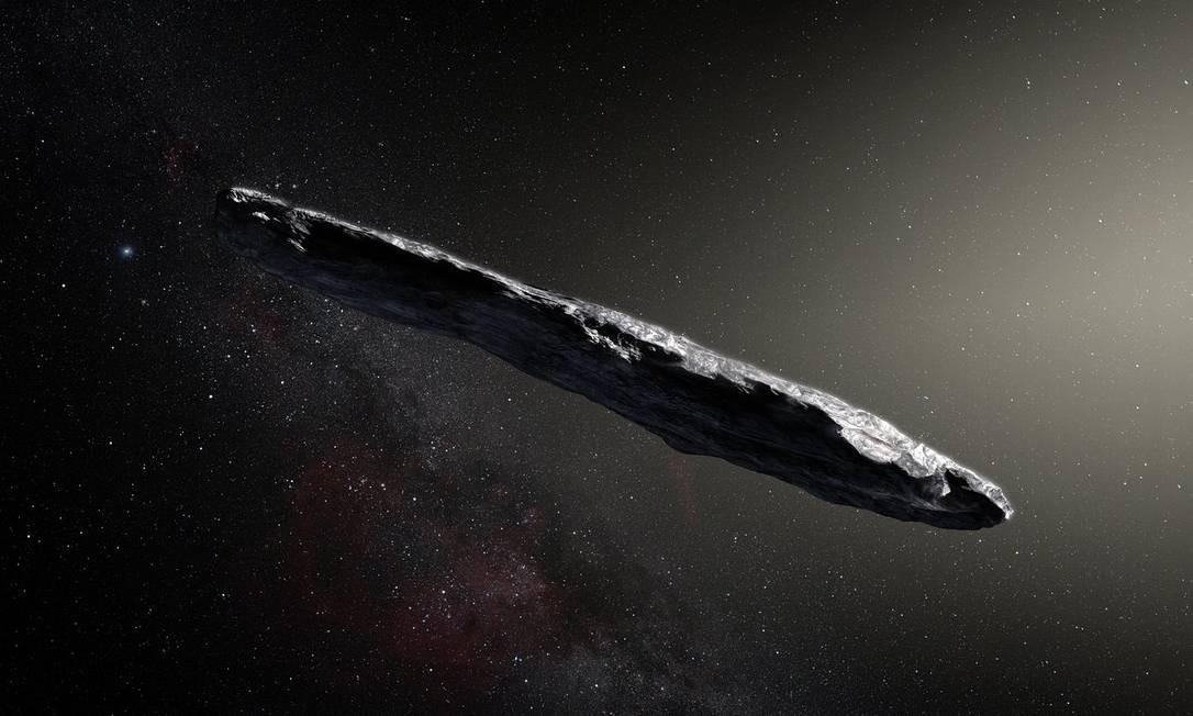 Ilustração do asteroide Oumuamua: objeto único que atravessa nosso Sistema Solar teve sua origem interestelar confirmada Foto: / ESO/M. Kornmesser