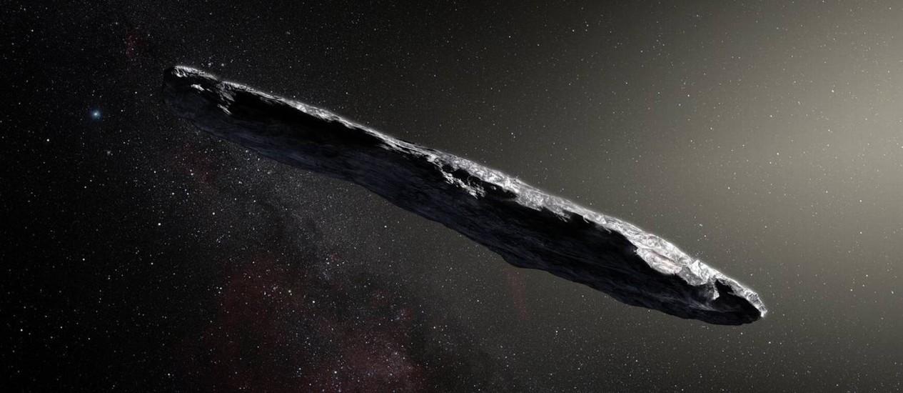 Ilustração do asteroide Oumuamua: objeto único que atravessa nosso Sistema Solar teve sua origem interestelar confirmada Foto: ESO/M. Kornmesser