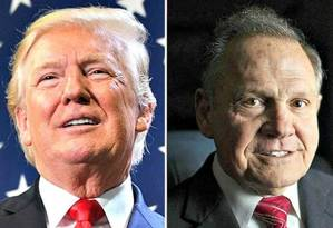 Trump e Moore: aliança contestada Foto: Reprodução