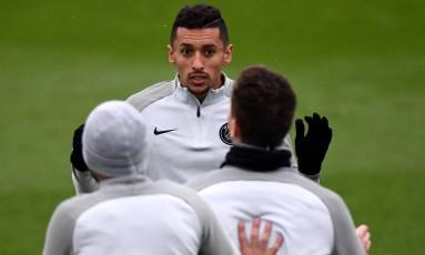 Marquinhos em treino do PSG Foto: FRANCK FIFE / AFP