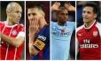 Robben, Messi, Fernandinho e Alexis Sánchez têm contratos perto do fim Foto: Reuters/Reuters/AFP/Reuters