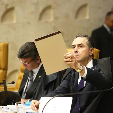 Ministros Luiz Fux,Luis Roberto Barroso e Alexandre Moraes no julgamento sobre foro privilegiado Foto: Ailton de Freitas / Agência O Globo