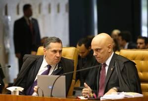 O ministro Alexandre de Moraes divergiu parcialmente do relator Luis Roberto Barroso sobre a restrição do foro privilegiado Foto: Ailton de Freitas / Agência O Globo