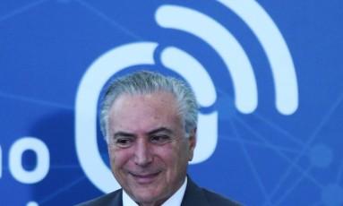 O presidente Michel Temer, durante cerimônia no Palácio do Planalto Foto: Ailton de Freitas/Agência O Globo